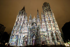 Rouen - The cathedral at night Royalty Free Stock Photos