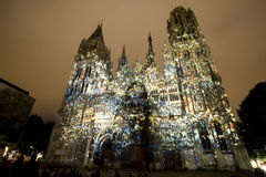 Rouen - The cathedral at night Stock Photo