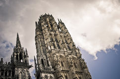 Rouen Cathedral, tour de Beurre. On a blue sky background Stock Photography