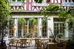 Rouen - Court of ancient restaurant stock image