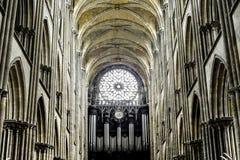 Rouen - domkyrkainterior Royaltyfri Foto