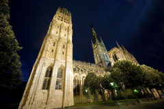Rouen - domkyrkan på natten royaltyfri fotografi