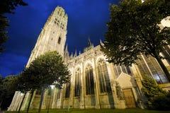 Rouen - domkyrkan på natten Royaltyfria Bilder