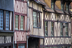 Rouen - Exterior of ancient houses stock image