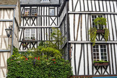 Rouen - Exterior of half-timbered house Stock Images