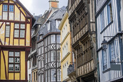 Rouen - Exterior of half-timbered houses Stock Photos