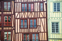 Rouen - Exterior of half-timbered houses Stock Images