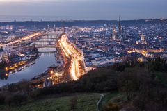 Rouen, France. Aerial view of the city of Rouen, Normandy, France, at dusk Royalty Free Stock Photo