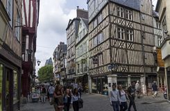Old houses in the tourist center of Rouen, France. stock photos
