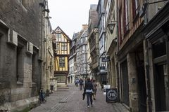 Old houses in the tourist center of Rouen, France. royalty free stock photography