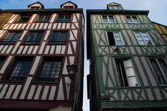 Beautiful traditionally decorated houses of French Brittany. Medieval heritage of Europe stock images