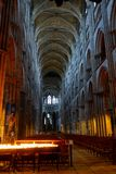 The interior of the Rouen Cathedral in evening lighting stock photos