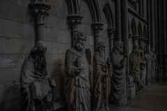 Sculptures depicting saints inside the Notre Dame Cathedral in Rouen, France stock images