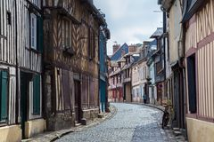 Rouen, France. Traditional half-timbered houses along a back street, Rouen, France stock photos