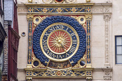 Rouen - Historic clock. Rouen (Seine-Maritime, Haute-Normandie, France) - Exterior of the ancient clock tower, detail Stock Images