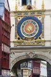 Rouen - historisk klocka royaltyfri fotografi