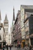 Rouen Normandie, Frankrike, Europa - traditionella hus och domkyrkan Royaltyfri Bild