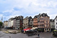 View of the old market square and medieval half-timbered houses with the museum of Joan of Arc. Rouen, Normandy, France, Europa. - July 24, 2017. View of the Royalty Free Stock Images