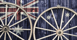 Roues antiques avec le drapeau d'Australie Images libres de droits