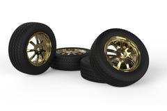 roues de voiture d'isolement sur un fond blanc illustration 3D Photos stock