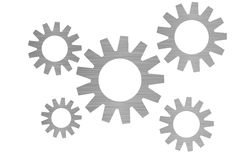Roues dentées avec la construction métallique Image stock