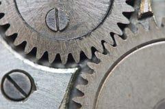 Roues dentées en métal dans les rouages, macro Images libres de droits