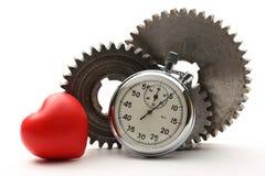 Roues dentées et chronomètre en acier Photos libres de droits