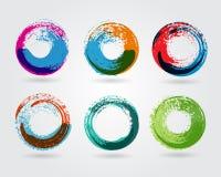 Roues enlacées par cercle géométrique Icône abstraite d'affaires Comme signe, symbole, logo, Web, label Photo stock