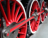 Roues locomotives rouges Photographie stock