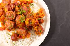Rougail saucisse, creole dish. Top view stock image