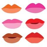 Rouge à lèvres de couleur de bouche sur le fond blanc illustration stock