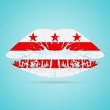 Rouge à lèvres de drapeau de Colombie sur les lèvres d'isolement sur un fond blanc Illustration de vecteur illustration stock