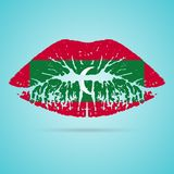 Rouge à lèvres de drapeau des Maldives sur les lèvres d'isolement sur un fond blanc Illustration de vecteur illustration stock