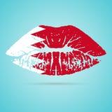 Rouge à lèvres de drapeau du Bahrain sur les lèvres d'isolement sur un fond blanc Illustration de vecteur Image libre de droits