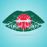Rouge à lèvres de drapeau du Bangladesh sur les lèvres d'isolement sur un fond blanc Illustration de vecteur Photos libres de droits