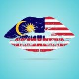 Rouge à lèvres de drapeau de la Malaisie sur les lèvres d'isolement sur un fond blanc Illustration de vecteur Image stock