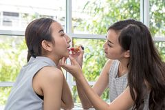 Rouge à lèvres de prise de femme de beauté, amie aidant avec le maquillage Photo stock