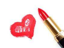Rouge à lèvres et coeur Images libres de droits