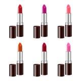 Rouge à lèvres réglé sur le fond blanc Maille de gradient Image stock