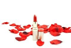 Rouge à lievres et pétales rouges des roses Photos libres de droits
