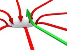 rouge 09 de vert de concept des flèches 3D illustration libre de droits