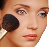 Rouge. Cosmetic brush for applying the Rouge stock image
