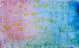 Rouge abstrait d'aquarelle, bleu, jaune Photographie stock