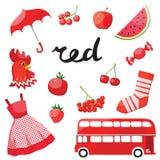 Rouge Apprenez la couleur Ensemble d'éducation Illustration de couleurs primaires Photo libre de droits