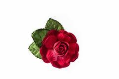 Rouge artificiel des fleurs faites à partir du papier sur le fond blanc Photos libres de droits