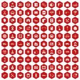 rouge automatique d'hexagone de 100 icônes de centre de service illustration stock
