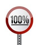 Rouge blanc de panneau routier avec le mot 100 pour cent. Photo stock