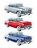 Rouge, bleu et rétro voiture argentée  Photo stock
