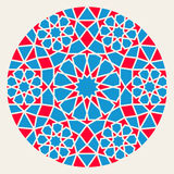 Rouge bleu Rosette Circle Design Element ornementale islamique de vecteur Illustration Stock