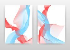 Rouge bleu texturisé a ondulé des lignes conçoit pour le rapport annuel, brochure, insecte, affiche Lignes ondulées rouges bleues illustration libre de droits
